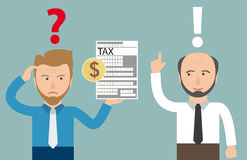 Cartoon Angry Businessman Tax Dollar Accountant. Angry businessman with tax form and accountman Stock Images