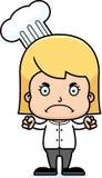 Cartoon Angry Chef Girl Stock Image