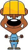 Cartoon Angry Construction Worker Bear. A cartoon construction worker bear looking angry Stock Photo