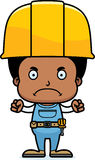 Cartoon Angry Construction Worker Boy. A cartoon construction worker boy looking angry Royalty Free Stock Photography