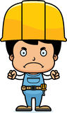 Cartoon Angry Construction Worker Boy. A cartoon construction worker boy looking angry Stock Photo