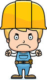Cartoon Angry Construction Worker Boy. A cartoon construction worker boy looking angry Stock Image