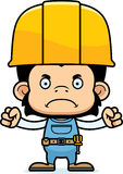 Cartoon Angry Construction Worker Chimpanzee. A cartoon construction worker chimpanzee looking angry Stock Images