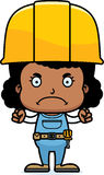 Cartoon Angry Construction Worker Girl. A cartoon construction worker girl looking angry Stock Photos