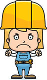 Cartoon Angry Construction Worker Girl. A cartoon construction worker girl looking angry Royalty Free Stock Images