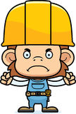 Cartoon Angry Construction Worker Monkey. A cartoon construction worker monkey looking angry Stock Images