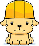Cartoon Angry Construction Worker Puppy. A cartoon construction worker puppy looking angry Stock Photo