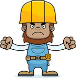 Cartoon Angry Construction Worker Sasquatch. A cartoon construction worker sasquatch looking angry Stock Photography