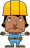 Cartoon Angry Construction Worker Woman. A cartoon construction worker woman looking angry Stock Photo