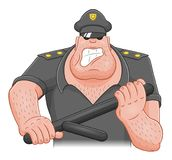 Cartoon angry cop Royalty Free Stock Image