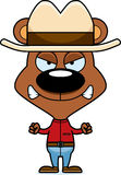 Cartoon Angry Cowboy Bear Stock Image