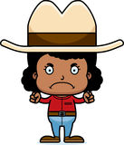 Cartoon Angry Cowboy Girl. A cartoon cowboy girl looking angry Royalty Free Stock Image