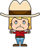 Cartoon Angry Cowboy Girl. A cartoon cowboy girl looking angry Stock Photo
