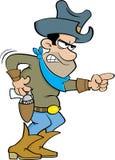 Cartoon angry cowboy. Royalty Free Stock Image