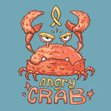 Cartoon angry crab. Illustration for web and print Royalty Free Stock Photography