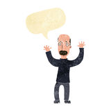 Cartoon angry dad with speech bubble Stock Images