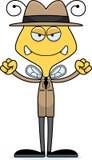 Cartoon Angry Detective Bee Stock Image