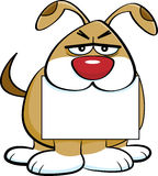 Cartoon angry dog holding a sign in it`s mouth. Royalty Free Stock Images
