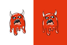 Cartoon Angry Emoji in Ghost Style. Royalty Free Stock Photography