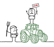 Cartoon angry farmers with tractor Royalty Free Stock Photography