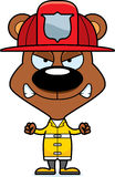 Cartoon Angry Firefighter Bear. A cartoon firefighter bear looking angry Royalty Free Stock Image
