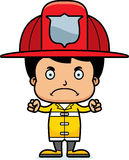 Cartoon Angry Firefighter Boy Stock Photography