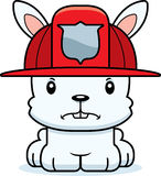 Cartoon Angry Firefighter Bunny. A cartoon firefighter bunny looking angry Stock Photo