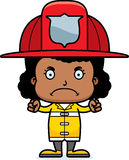Cartoon Angry Firefighter Girl. A cartoon firefighter girl looking angry Stock Photos