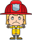 Cartoon Angry Firefighter Girl Stock Photography