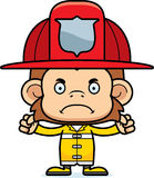Cartoon Angry Firefighter Monkey Royalty Free Stock Image