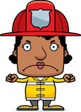 Cartoon Angry Firefighter Woman Stock Image