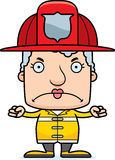 Cartoon Angry Firefighter Woman. A cartoon firefighter woman looking angry Stock Photo