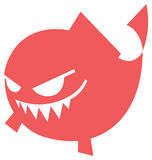 Cartoon Angry fish icon. Angry fish in cartoon style  icon Royalty Free Stock Photos
