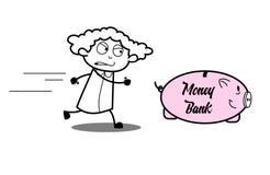 Cartoon Angry Girl Running Behind Piggy Bank Royalty Free Stock Image