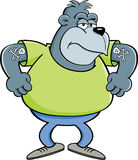 Cartoon angry gorilla Royalty Free Stock Images