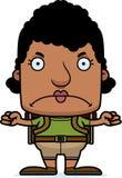 Cartoon Angry Hiker Woman Stock Image