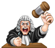 Cartoon Angry Judge. An illustration of an angry judge cartoon character with fist and wooden gavel Stock Photo