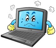 Cartoon angry laptop vector illustration