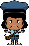 Cartoon Angry Mail Carrier Girl Royalty Free Stock Photo