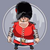 Cartoon angry man in the clothes of a soldier of the Royal guard. Cartoon angry man in the clothes of soldier of the Royal guard Royalty Free Stock Photography