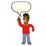 Cartoon angry man making point with speech bubble Stock Photography