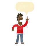 Cartoon angry man making point with speech bubble Royalty Free Stock Photos