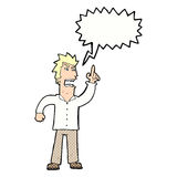 Cartoon angry man making point with speech bubble Royalty Free Stock Images