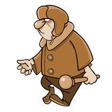 Cartoon angry man in a padded jacket and a fur hat with a club Stock Image