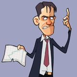 Cartoon angry man shows a graph on a sheet of paper. Cartoon angry man shows a graph on sheet of paper Stock Photography
