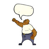 Cartoon angry man with speech bubble Royalty Free Stock Photography