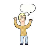 Cartoon angry man with speech bubble Royalty Free Stock Image