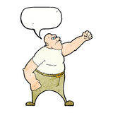 Cartoon angry man with speech bubble Stock Images