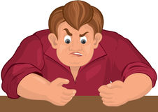 Cartoon angry man torso in red top Royalty Free Stock Photo