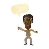 Cartoon angry man waving warning with speech bubble Stock Image